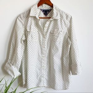 Tommy Hilfiger Polka Dots Button Down Shirt Sz XL